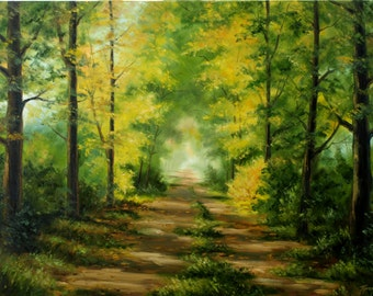 Trees landscape oil painting 19x27in Forest Road, Woodland, Gift idea Autumn scene, original canvas art
