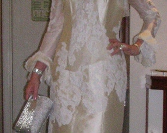 Vintage 1960's stunning custom made Couture silk, satin & lace wiggle dress + matching bell-sleeve jacket size: 10
