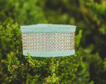 The Big Sky Mint Suede Leather Bracelet with Silk Swarovski Crystals
