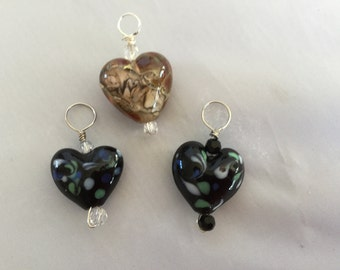Lampwork glass heart pendant hand made
