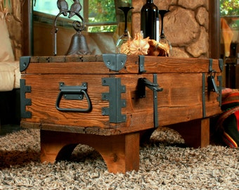 old travel Trunk chest  vintage Coffee Table cottage steamer  chest box
