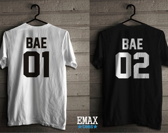 Valentines day Shirts, Bae 01 Bae 02 Couple Shirts, Matching Tees for Girl and Boy, Valentine's Gift, Clothes for Men and Woman Couples Tees