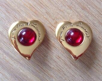 Yves Saint Laurent YSL original heart earrings/Ohrringe