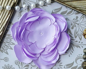Lavender Large Unfinished Satin Flower