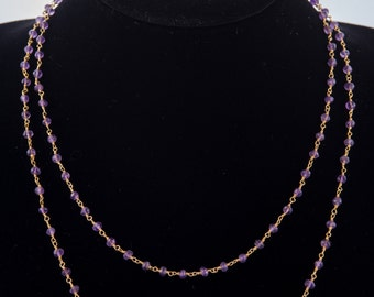 Amethyst faceted Rondelles Necklace and Earrings