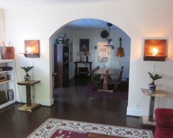 Reclaimed wood shelf sconce, rustic wall lamp, farmhouse wall light