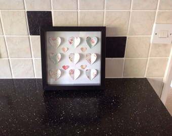 Heart shapes in picture frame