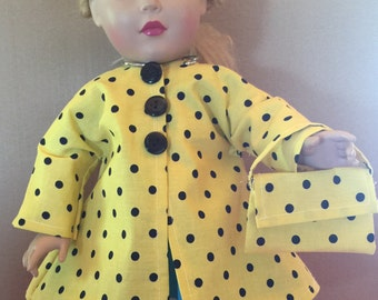 18 inch Doll Coat with Purse