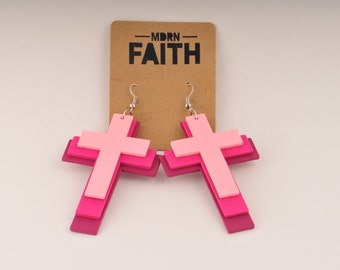 MDRN Faith Genesis 37 Tiered Pink Cross Christian Earrings - Handmade Jewelry for Women - Gifts That Give Back to Charity