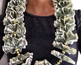 Two Dollar Bills Money Lei, gold or silver beads