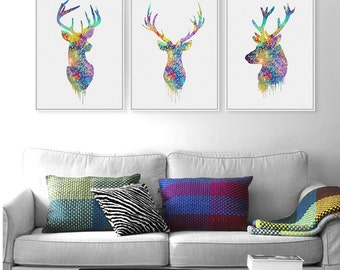Triptych Watercolor Deer Head Poster Print