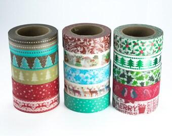 Christmas Washi Tape - Christmas Washi Tape Set, pick your own set of washi tape, snowflake, christmas tree, reindeer, holly, penguin