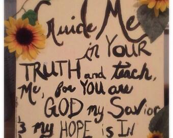 Psalm 25:5 11X15 Sunflower Decorative Wall Hanging