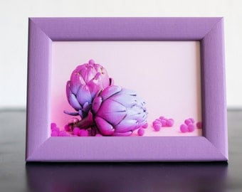 Pink artichoke. Photo + frame