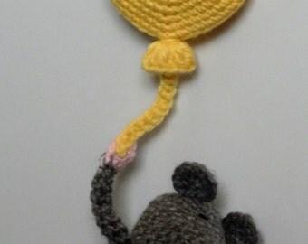 Handmade crochet mice and balloon frigde magnet