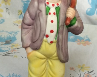 Vintage Emmett Kelly Jr sad clown figurine - 1980's collection flambre