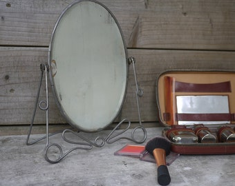 Antique french Dressing Table Mirror on Pedestal Base, 1950's Table top Vanity Mirror. Vintage wrought iron Psyche oval vanity mirror