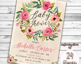 Floral Baby Shower Invitation, Boho Baby Shower Invitation, Girl Baby Shower Invitation, Feather, Watercolor Flower, Bohemian, Book Instead
