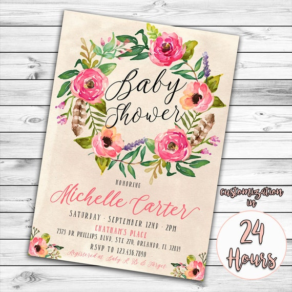 baby shower invitation boho baby shower invitation girl baby shower