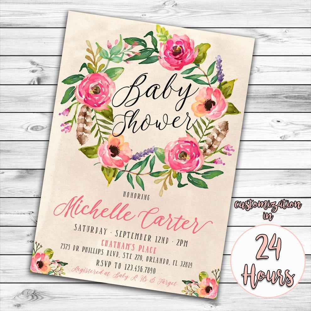 floral baby shower invitation boho baby shower invitation