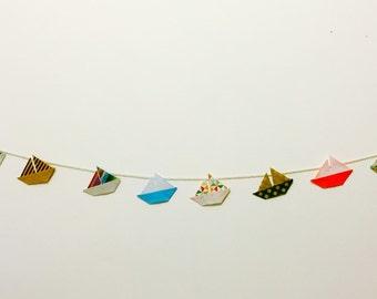 Origami boat garland