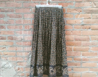 Vintage Printed Maxi Skirt, Vintage Floral Hippie Skirt, 90s  maxi skirt, Festival Skirt