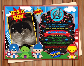 Super babies Avengers  photo Invitation Baby Shower, digital chalkboard Baby Shower invitation Super babies, Thank you card free!