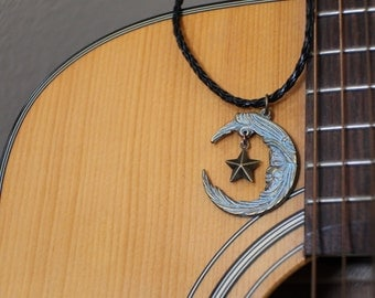 Crescent Moon Star Necklace on Black Leather Cord