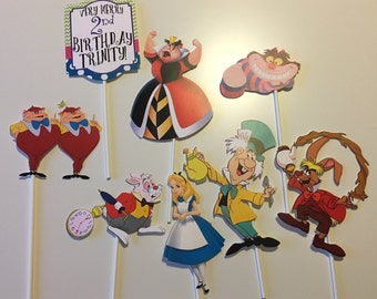 Alice in Wonderland Centerpiece Picks/Alice/Mad Hatter/March Hare/White Rabbit/Queen of Hearts/Cheshire Cat/Tweedle Bros/Set of 8/Onederland