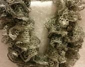 Ruffled crocheted Sashay sequins scarf in smoky gray