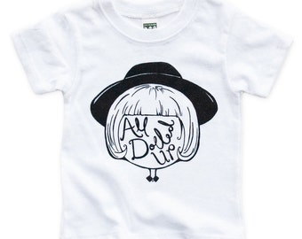 All Dolled Up Kids Graphic Tee, Screenprinted, Handmade, Original Artwork, Illustration.