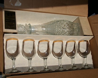 14 Karat Gold Rimmed Wine Set