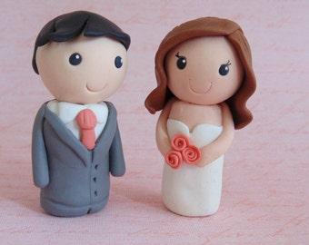 Bride and Groom Wedding Cake Topper - Personalised Cake Topper, Kokeshi style, Mini Bride & Groom, Custom Made, Modern, Cute Wedding Topper