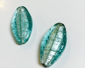 Large Oblong Foiled Glass Beads in Aqua - 2 Pieces - #625
