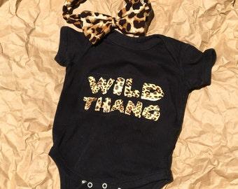 """Baby girls cheetah leopard onesie """"Wild Thang"""""""