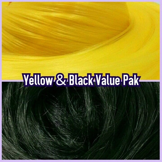 Black & Yellow XL 4oz 2 Color Value Pak Nylon Doll Hair Hanks Rerooting Monster High Ever After Barbie Fashion Royalty My Little Pony Crissy
