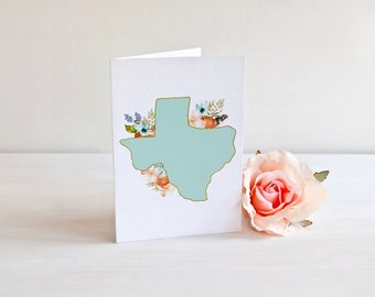 Floral Texas notecards with kraft envelopes. Texas with flowers folded note cards. Southern Notecard. Hostess Notecards. Gift Giving.