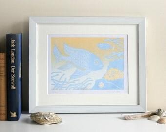 Linoprint of fishes | original print | limited edition