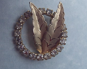 Vintage Rhinestone Leaf Brooch Pin
