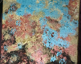Abstract in copper, brown, gold and turquoise
