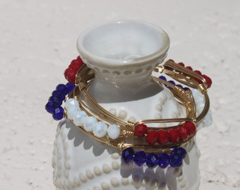 Red, White or Blue Faceted Bead Layering Bangle