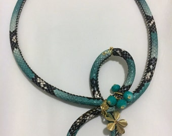 Faux snake skin necklace