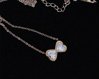 Rose Gold Crystal Bow Necklace Simple Jewelry