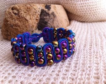 Hematite bracelet,Metallic Snakeskin Soutache Bracelet, Beaded Bracelet, Soutache Bracelet, Soutache Jewelry, Snakeskin Bracelet