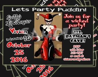 HARLEY QUINN INVITATION, Birthday Invitation, Harley Quinn, Joker, Suicide Squad invitation, Suicide Squad.