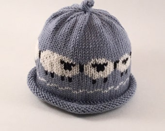 Hand Knit Baby Sheep Hat in blue