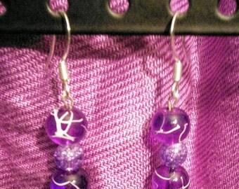 Purple bead earrings