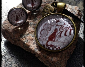 """Cabochon jewelry set """"Tangle-VintageCat"""" (inspired by Zentangle®)"""