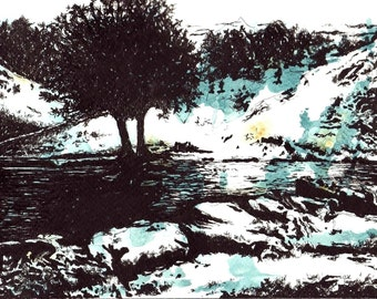 Dovedale Stepping Stones - pen and watercolour print