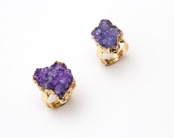 Purple Druzy Ring - 18k Gold Plated
